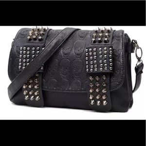 Handbags - Black Leather Fashion Vintage  Skull Shoulder Bag